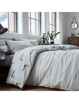 Racing Green Andover Reversible Silver Duvet Cover And Pillowcase Set by Dunelm