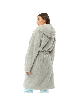 Board Angels Womens Wellsoft Hooded Robe Grey by Mand M Direct