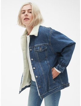 Oversized Sherpa Lined Icon Denim Jacket by Gap