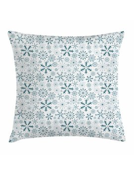 Winter Throw Pillow Cushion Cover, Merry Xmas Theme Delicate Snowflakes Cold Freezing Weather Vintage Holiday Pattern, Decorative Square Accent Pillow Case, 16 X 16 Inches, Teal White, By Ambesonne by Ambesonne