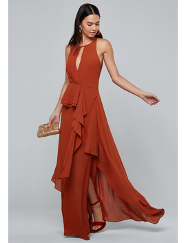 Draped Ruffle Maxi Dress by Bebe