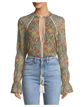 Samera Floral Long Sleeve V Neck Top by Alexis