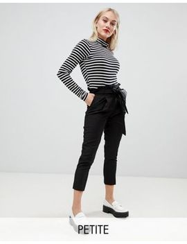 New Look Petite Tie Waist Pants In Black by New Look Petite