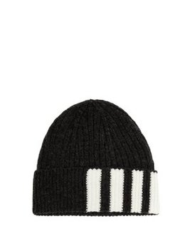 Striped Ribbed Knit Cashmere Beanie by Thom Browne
