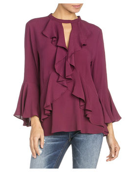Miss Me Women's Ruffle Front Bell Sleeve Blouse by Missme