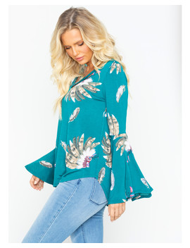 Moa Moa Women's Feathers Cross Bell Sleeve Top by Moamoa