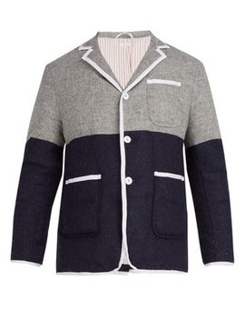 Bi Colour Single Breasted Down Wool Coat by Thom Browne
