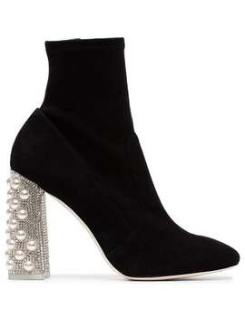 Black Felicity Crystal Heel 100 Suede Boots by Sophia Webster