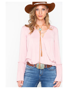 Rock And Roll Cowgirl Women's Bell Sleeve Criss Cross Top by Rock&Rollcowgirl