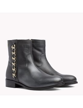Chain Detail Metallic Leather Boots by Tommy Hilfiger