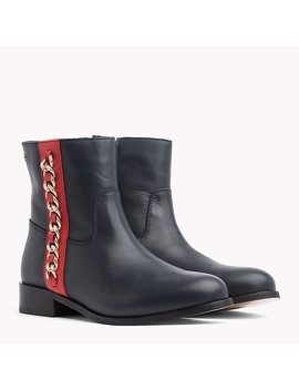 Chain Detail Leather Boots by Tommy Hilfiger