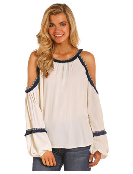 Rock &Amp; Roll Cowgirl Women's Navy Trim Cold Shoulder Blouse by Rock&Rollcowgirl