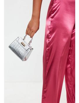 Silver Croc Mini Handle Handbag by Missguided