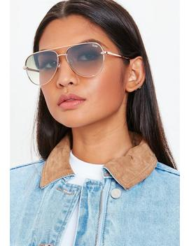 Quay Australia High Key Rose Gold Mini Sunglasses by Missguided