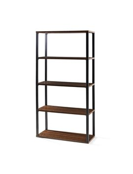 "Mainstays 72"" Clarendon 4 Shelf Metal Frame Book Case, Sawcut Brown by Mainstays"
