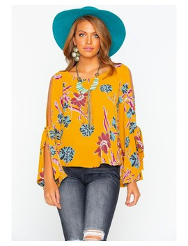Shyanne Women's Floral Crepe Bell Sleeve Blouse by Shyanne