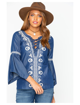 Shyanne Women's Embroidered Lace Up Bell Sleeve Top by Shyanne