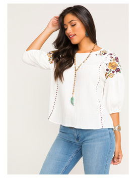 Shyanne Women's Floral Embroidered Peasant Top by Shyanne