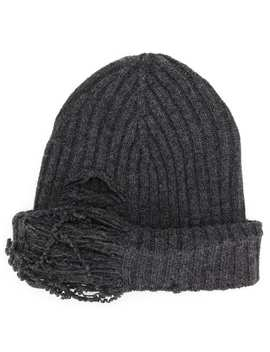 Distressed Rib Knit Beanie by Maison Margiela