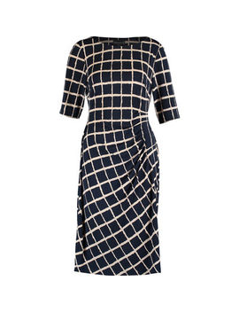 Navy & Beige Patterned Midi Dress by Connected Apparel