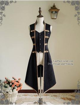 rococo-lolita-victorian-elegant-gothic-unisex-false-2pcs-long-vest-jacket by etsy
