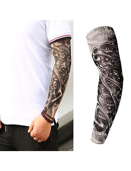 Skulls Halloween Adult Men Women Slip On Nylon Elastic Stocking Arm Temporary Tattoo Sleeves by Weekend Tattoos
