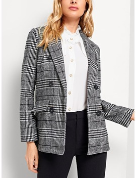 Plaid Double Breasted Blazer by Shein