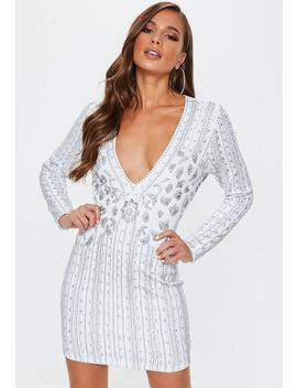 White Premium Silver Embellished Mini Dress by Missguided