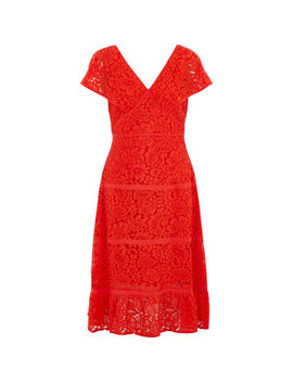 Bright Red Lace Cap Sleeve Sheath Dress by Nanette Lepore