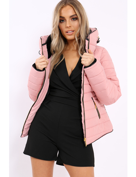 Dusty Pink Padded Coat   Zara by Rebellious Fashion