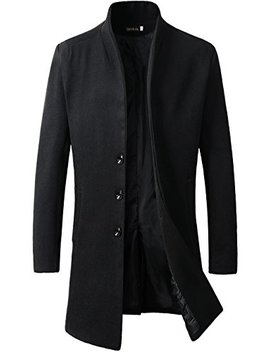 Benibos Men's Trench Coat Winter Long Jacket Button Closer Overcoat by Benibos