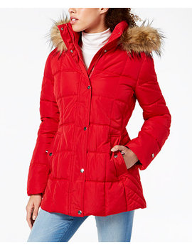 Petite Faux Fur Trim Hooded Puffer Coat by Tommy Hilfiger