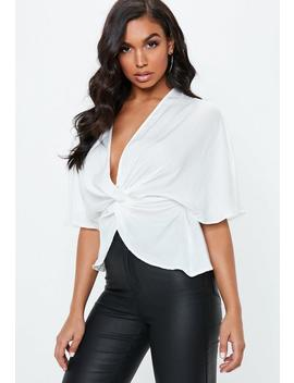 White Twist Front Blouse by Missguided