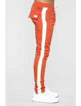 Travis Twill Joggers   Blood Orange/Bone by Fashion Nova