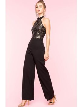Sequin Scallop Halter Jumpsuit by A'gaci