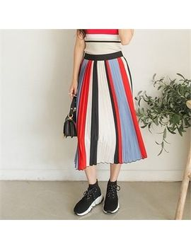 J She9   Accordion Pleat Multicolor Midi Skirt by J She9