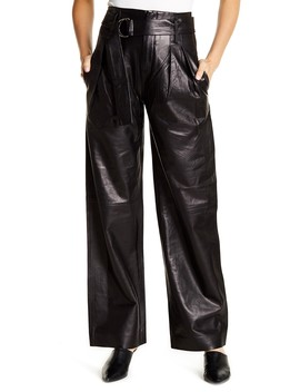 Wide Leg Leather Trousers by Frame Denim