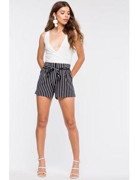 Poconos Stripe Tie Front Shorts by A'gaci