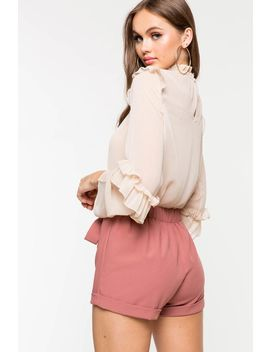 Courtney Cuffed Tie Front Trouser Shorts by A'gaci