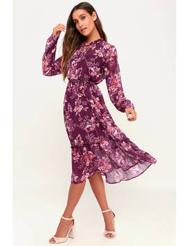 Thrill Of It All Purple Floral Print Long Sleeve Midi Dress by Lulus