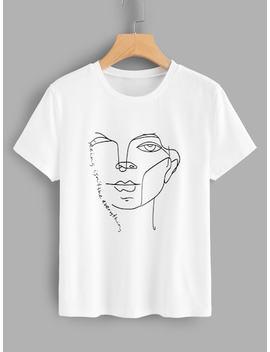 Tee Shirt Imprimé Lettre Et Visage by Shein