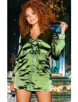 Khaki Satin Zip Front Pocket Detailing Shift Dress by Prettylittlething