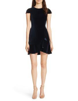 Enid Ruffled Velvet Minidress by Alice + Olivia