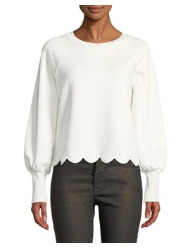 Scalloped Bishop Sleeve Crewneck Top by Frame