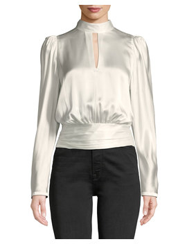 Satin Long Sleeve High Neck Keyhole Top by Frame