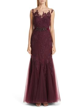 Platinum Belted Illusion Neck Lace Trumpet Gown by Badgley Mischka