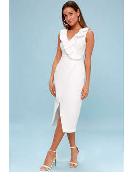 Miss Me White Ruffled Midi Dress by Keepsake