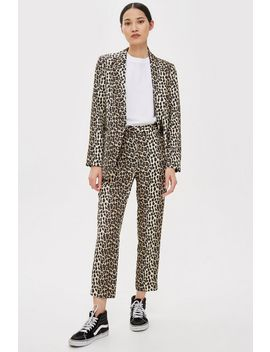 Petite Brown Leopard Print Suit Trousers by Topshop