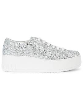 Glitter Low Top Sneakers by Miu Miu