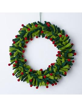 Holiday Felt Wreaths   Green by The Company Store